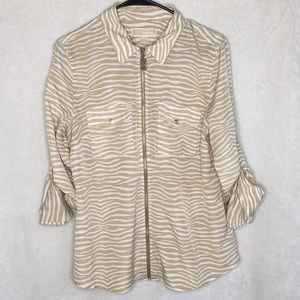 Michael Kors tan zebra zip up shirt Sz large. Cute